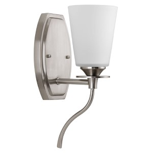 Cantata Brushed Nickel One-Light Vanity Fixture with Etched and Painted White Inside Glass
