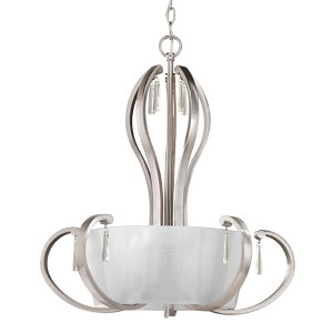 Dazzle Brushed Nickel Five-Light Inverted Pendant with Clear Glass Shade