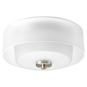 Invite Brushed Nickel Two-Light Flush Mount with White Silk Mylar Shade