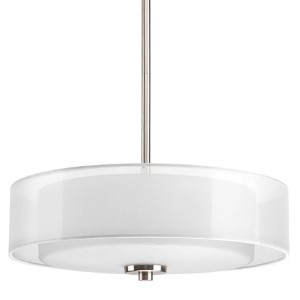 Invite Brushed Nickel Three-Light Convertible Semi-Flush Mount