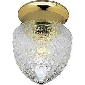 Glass Globes Polished Brass One-Light Flush Mount