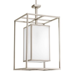 Haven Brushed Nickel One-Light Hall and Foyer Pendant with Etched Glass Panel