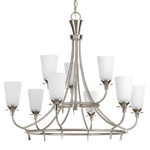 Cantata Brushed Nickel Nine-Light Two-Tier Chandelier