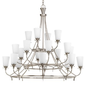 Cantata Brushed Nickel 20-Light Three-Tier Chandelier