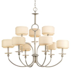 Ashbury Silver Ridge Nine-Light Chandelier with Thistle Weave and Toasted Linen Fabric Shade