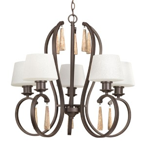 Club Antique Bronze Five-Light Chandelier with Tea-Stained Glass