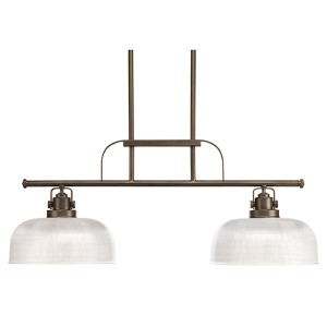 Archie Venetian Bronze Two-Light Island Pendant with Double Prismatic Glass