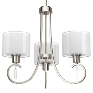 Invite Brushed Nickel Three-Light Chandelier with White Silk Mylar Glass