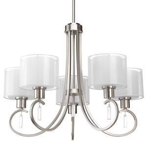 Invite Brushed Nickel Five-Light Chandelier with White Silk Mylar Glass