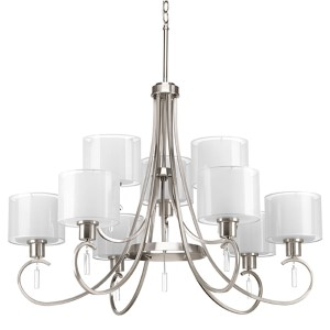 Invite Brushed Nickel Nine-Light Two-Tier Chandelier with White Silk Mylar Glass