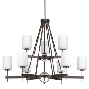 Compass Antique Bronze Nine-Light Two-Tier Chandelier with K9 Glass Ball