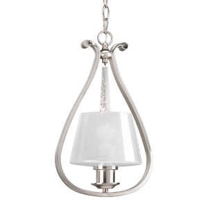 Dazzle Brushed Nickel One-Light Mini Pendant with Clear Glass Shade