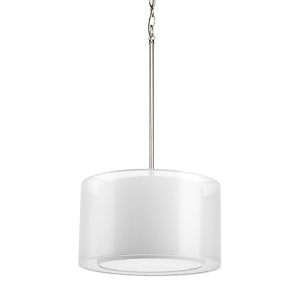 Cuddle Brushed Nickel One-Light Drum Pendant with White Mylar Shade