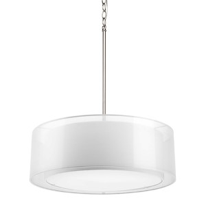 Cuddle Brushed Nickel Three-Light Drum Pendant with White Mylar Shade
