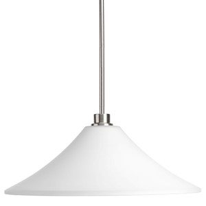Brushed Nickel One-Light Pendant with Etched Glass Shade