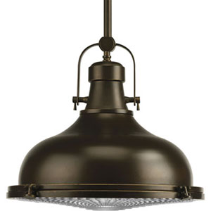 P5197-108:  Fresnel Lens Oil Rubbed Bronze One-Light Pendant