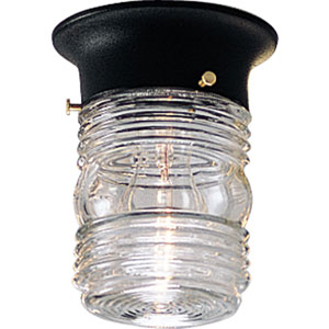 Black One-Light Outdoor Flush Mount