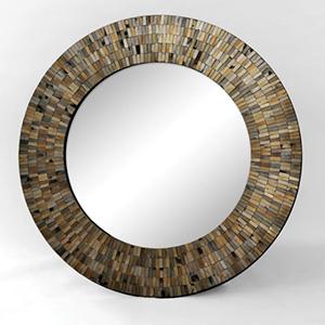 Aventurine Black Mosaic Round Mirror