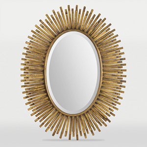 Sparta Antique Gold Leaf Oval Beveled Mirror with Metal Frame