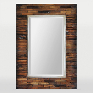Pretoria Natural Wood and Silver Lined Rectangular Mirror