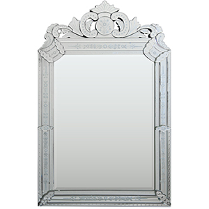 Mansard All Glass 40-Inch Arched and Crowned Mirror