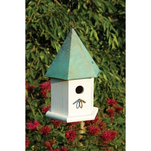 Copper Songbird White With Verdi Copper Roof Birdhouse