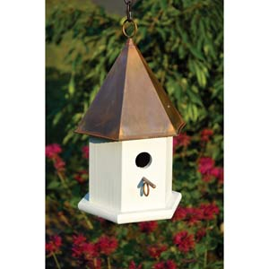 Copper Songbird White With Brown Copper Roof Birdhouse