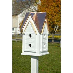 Victorian Mansion White With Bright Copper Roof Birdhouse