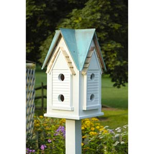 Victorian Mansion White With Verdi Copper Roof Birdhouse