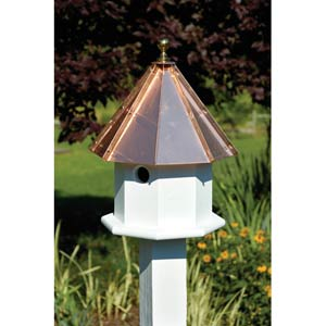 Oct-Avian White With Bright Copper Roof Birdhouse
