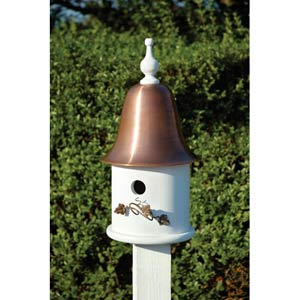 Ivy White With Spun Copper Roof Birdhouse