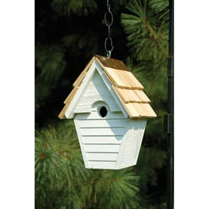 Wren-in-the-wind Whitewashed Birdhouse