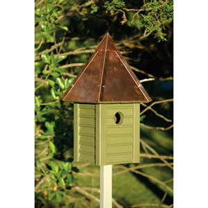 Gatehouse Pinion Green Birdhouse with Solid Copper Roof