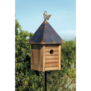 Homestead Solid Mahogany Birdhouse with Copper Roof