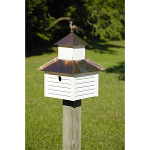 Rusty Rooster White House With Bright Copper Roof Birdhouse