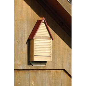 Bat Lodge Natural Cypress With Red Roof Bat House