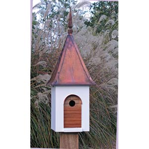 French Villa White With Brown Copper Roof Birdhouse