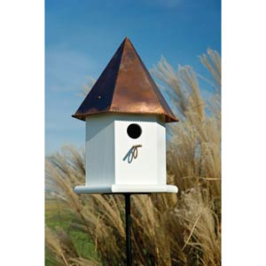 Copper Songbird Deluxe White With Brown Copper Roof Birdhouse