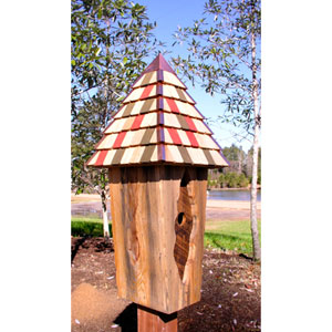 Vintage Bluebird Antique Cypress Birdhouse w/ Multi-Colored Roof