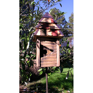 Vintage Gatehouse Antique Cypress Birdhouse w/ Multi-Colored Shingled Roof