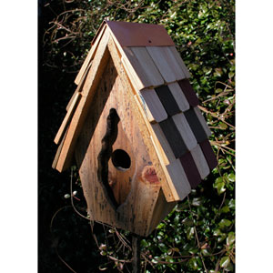 Vintage Wren Antique Cypress Birdhouse w/ Multi-Colored Shingled Roof