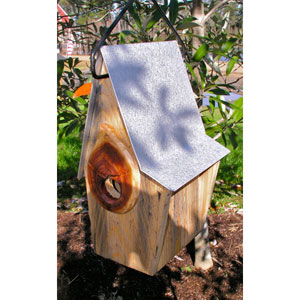 Vintage Shed Antique Cypress Birdhouse w/ Galvanzied Metal Roof