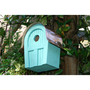 Twitter Junction Turquoise Birdhouse with Copper Roof