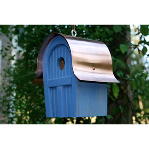 Twitter Junction Blue Birdhouse with Copper Roof