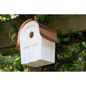 Twitter Junction White Birdhouse with Copper Roof