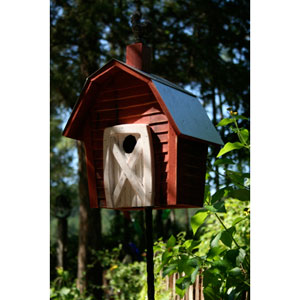 Rock City Redwood Birdhouse with White Door