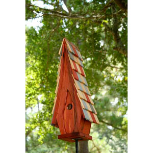 High Cotton Redwood Birdhouse with Multi-Colored Roof
