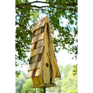 High Cotton Limey Yellow Birdhouse with Multi-Colored Roof