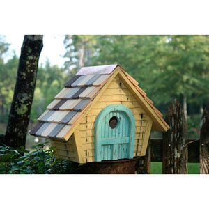 Prairie Home Yellow Birdhouse with Light Blue Door