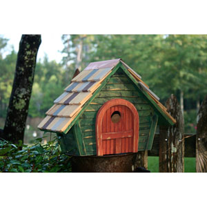 Prairie Home Green Birdhouse with Red Door